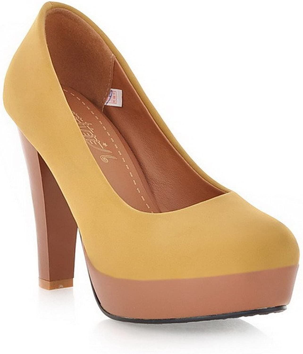 AmoonyFashion Women's Pull-on High-Heels Imitated Suede Solid Round Closed Toe Pumps-shoes