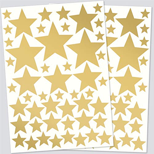 klebino Wandaufkleber 90 Sterne Gold - Kinderzimmer Dekoration – Wandsticker Set