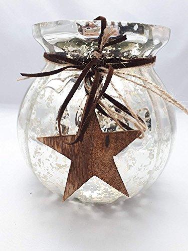 Windlicht mit Holzstern Bauernsilber 17x15cm Teelichthalter Kerzenglas Kerzen Glas Weihnachten Deko Kerzenhalter Shabby Vintage Country Home