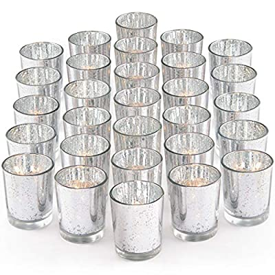 LETINE Silver Votive Candle Holders Set of 36 - Speckled Mercury Silver Glass Candle Holder Bulk - Ideal for Wedding Centerpieces & Home Decor