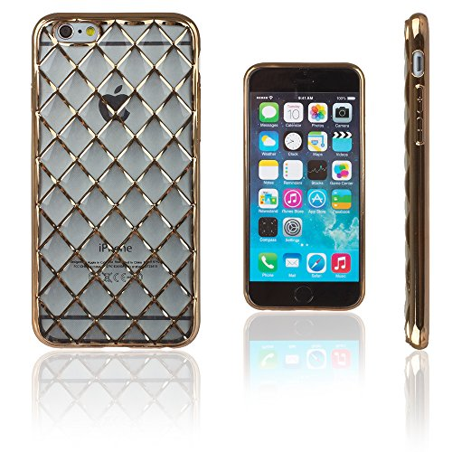 Xcessor Convex Checkered Convexa Ajedrezado Lustroso Funda Carcasa de TPU Gel Flexible para Apple iPhone 6 / 6S. Transparente/Color de Oro