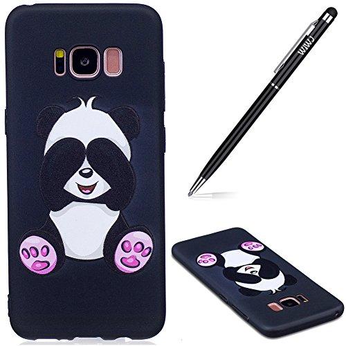 WIWJ Galaxy S8 Hülle,Galaxy S8 Handyhülle, Hülle Geprägter TPU Phone Case Soft Silikon Backcover Case mit Gemalt Kunst Malerei Muster Schutzhülle für Samsung Galaxy S8 -Großer Panda