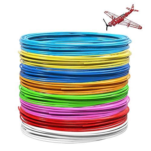 Gobesty Filamento penna 3D, 10 colori Filamento PLA 1,75 mm Rilascio filamento penna 3D Filamento stampante biodegradabile per adulti Doodler Bambini Disegno penna 3D, ogni colore 16 piedi