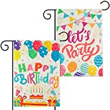 WATINC 2Pcs Happy Birthday Garden Flags Let's Party Burlap Yard Signs Vertical Double Sided Readable Birthday Cake Banner Poster Party Decorations Supplies for Indoor Outdoor Lawn 12.6 x 18.1 Inch