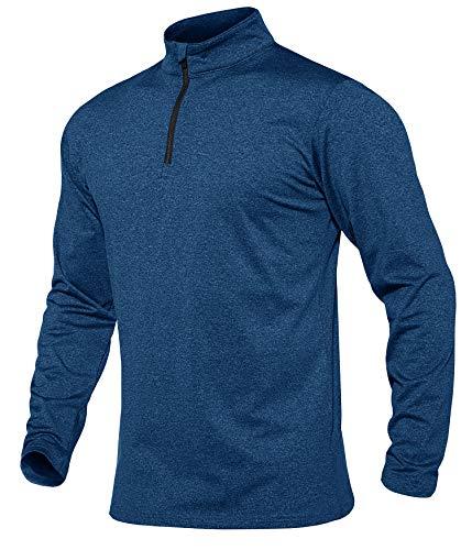 MAGCOMSEN Training Poloshirt Männer Jogging Top Warm Fleece Funktionsshirt Herren Wandershirt Sport Hemd Winter Frühling Poloshirt mit Stehkragen Blau XL