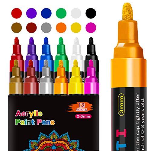 RATEL Acrylstifte Marker Stifte, 12 Farben Premium Wasserfest Paint Marker Set Wasserfest Permanent Art Filzstift Acrylic Painter für DIY Stein, Leinwand, Papier, Glasmalerei, Metall-Mittlerer Spitze