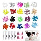 200 pezzi Gatti Copertura per unghie Protezione per artigli per cane gatto,morbidi colorati Cappucci unghie gattini Copri per gatti Tappi con adesivi Applicatori con istruzioni per animali domestici