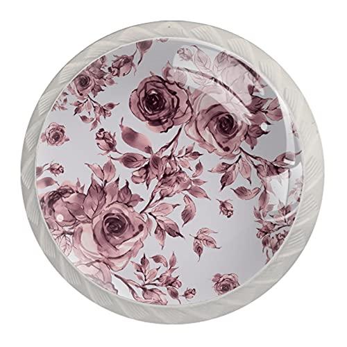 Suave rosa lila, moderna impresión minimalista armario manija cajón manija puerta armario manija 4 piezas traje
