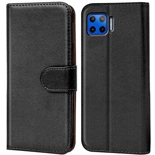 Verco Handyhülle für Motorola Moto G 5G Plus Hülle, Bookcase Tasche Flipcover für Motorola G 5G Plus Hülle [Kartenfächer/Aufstellfunktion], Schwarz