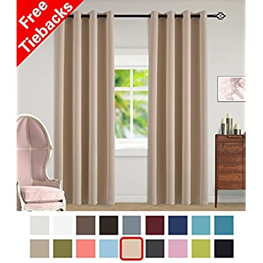 Yakamok 2 Panels Thermal Insulated Grommet Noise Blocking Blackout Curtains With 2 Ties for Bedroom/Living Room (52Wx63L, Royal beige)