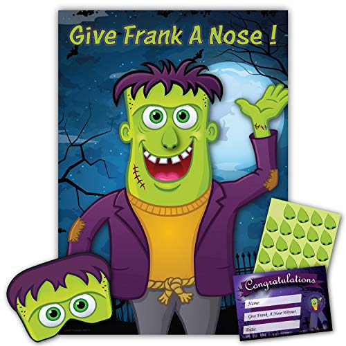 Halloween Party Game – GIVE FRANK A NOSE – 30 Player – Blindfold, Winner Certificate and XL Poster Included for Halloween Party, Halloween Decoration, Halloween Party Supplies, Halloween Games