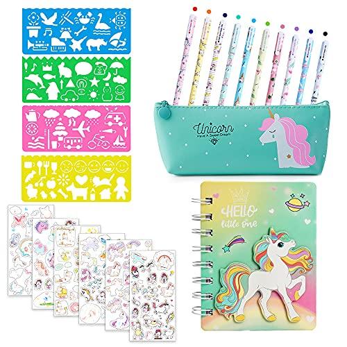 MMTX Set di Cancelleria Unicorno per Ragazze Penne, Adesivi, Stencil per Disegnare, Notebook, Astuccio Forniture Scolastiche Unicorno Scrittura per Ragazze Bambini 4 5 6 7 8 9 10 11 12 Anni (Verde)