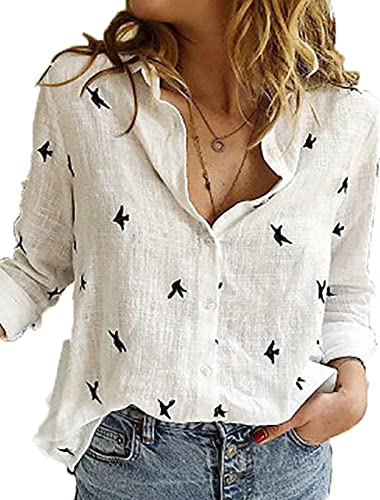 White Womens Button Down Shirt Long Sleeve V Neck Loose Fit Fashion Blouse Printed Casual Tops for Work Birds X-Large