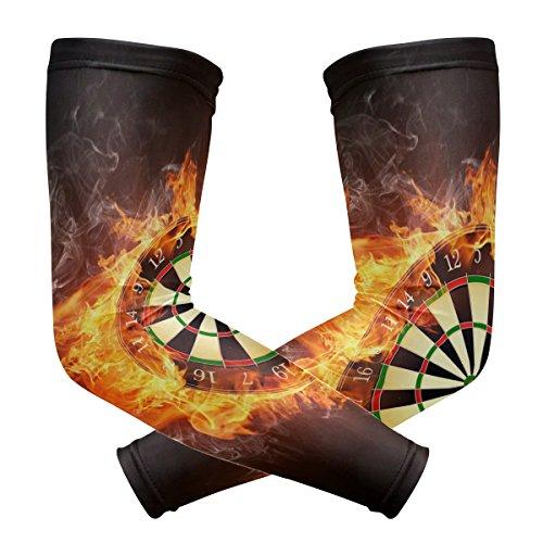Coosun Kompressions-Armstulpen für Dartscheibe, UV-Schutz, kühlend, für Radfahren, Autofahren, Laufen, Basketball, Fußball, Outdoor-Aktivitäten, 1 Paar