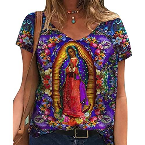Camisetas con Estampado de la Virgen María, Camisetas de Manga Corta con Cuello en V y Estampado gráfico de Verano para Mujer