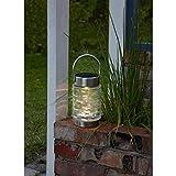 Kamaca Lanterna solare a LED in vetro e acciaio inox, con 1 LED bianco caldo, 10 lumen, da giardino (lanterna solare Capri)