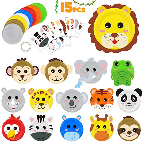 15pcs Paper Plate Art Kit for Kids Toddler Crafts Safari Jungle Animals Art Kits Simple DIY Animals Paper Plate for Boys Girls Craft Parties Groups and Classroom