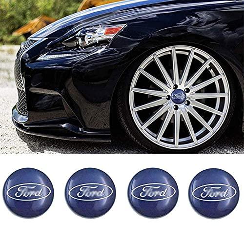 Tapacubos central de aluminio para llantas de coche, emblema 3D, mejor ajuste para Ford Focus Fiesta Mondeo, 54 mm