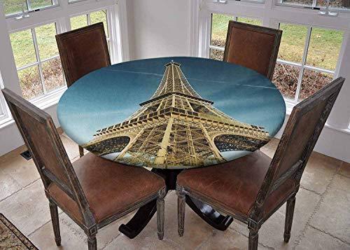 Ronde tafelkleed keuken decoratie, tafelblad met elastische randen, Eiffeltoren Kleurrijke Gradient Sketch in Ombre Style Tekening Franse Print Teal Mosterd, outdoor tafelkleed