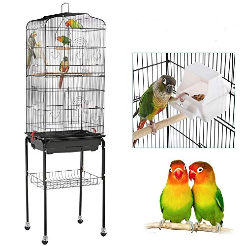 Yaheetech Gabbia Voliera per Uccelli Pappagalli Parrochetti in Metallo e Legno Nera con Piedistallo Ruote 46 x 35,3 x 150,6 cm