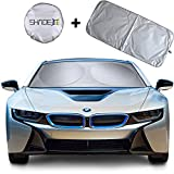 Shade-It Car Windshield Sun Shade + Free Product Durable 210T Nylon Polyester Heat Block & UV Protection Sunshades - Sunlight Blocker - Reflective Coating, Easy Storage Sunshade (Large 63.5' x 33.75')
