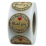 Hidyliu 500 etiquetas de papel kraft autoadhesivas hechas a mano con amor/agradecimiento, redondas, hechas a mano, etiquetas de regalo para regalos caseros