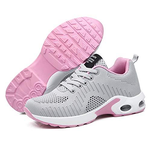 Zapatillas Deportivas de Mujer Air Cordones Zapatillas de Running Fitness Sneakers 4cm Negro Gris Rosado Púrpura Rojo Blanco Gris 41