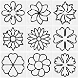 9 Pieces Flower Line Quilting Stencil Kit Sewing Stencils Flower Reusable Mylar Template Stencils with Metal Open Ring for Sewing on Fabric Quilt Clothes
