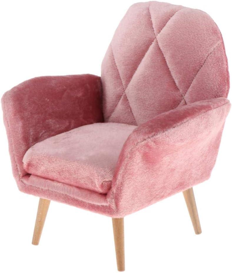 Milageto 1:6 Colorado Springs Mall Pink Dollhouse Max 67% OFF Single Purely Bedroom Sofa Handmade