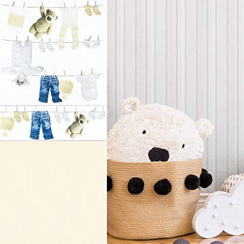 #patterned.wallpaper PVC-Freie kreative Kinderzimmer Tapete 3D Vliestapete + passende Bordüre Teddy Bär Baby Schlafzimmer