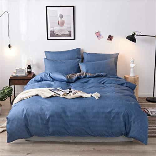 Cupocupa Juego de ropa de cama de 200 x 200 cm, 3 piezas, cálida ropa de cama a cuadros azul y gris, 100% microfibra suave y agradable; funda nórdica azul + funda de almohada de 80 x 80 (GL 200 2T)