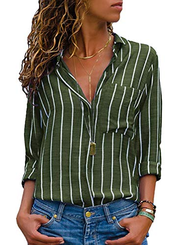 Onsoyours Damen Bluse Chiffon Elegant Langarm Oberteile Einfarbig V-Ausschnitt Lose Hemdbluse T-Shirt Tops C Grün 36(M)