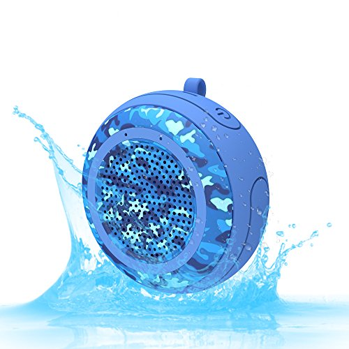 CYBORIS IPX7 Waterproof Outdoor Bluetooth Speaker Swimming Pool Floating Portable Mini Speakers Wireless 5W with Microphone & TWS for Beach, Bathroom, Home, Shower (Camouflage Blue)