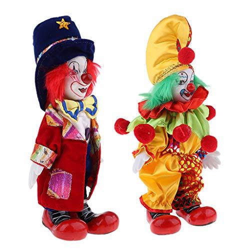 MagiDeal 2 Stück Lustige Stehende Porzellan Puppe mit Clown Kostüm, Ornament für Halloween Dekoration - #2