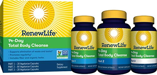 Renew Life Adult Cleanse - Total Body Cleanse for Men & Women - 2-Part, 14-Day Program - Dairy & Soy Free - 140 Vegetarian Capsules