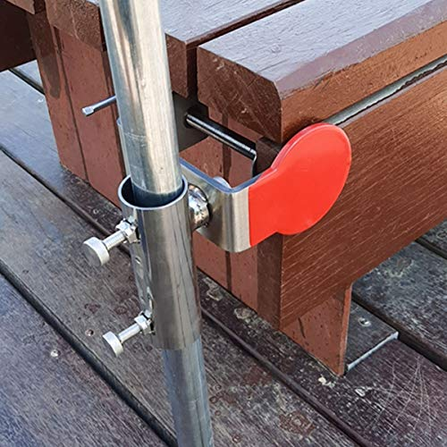 Jinhan Outdoor Umbrella Holder | Stainless Steel Umbrella Clamp | Attach to Railing, Fence, Bleachers, Benches, Tailgates and More