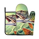 Funny Oven Mitt and Pot Holders Set Largemouth Bass Fish Lures Heavy Duty Cooking Gloves Advanced Heat Resistance Grilling Gadgets to Protect Hands Surfaces for Men Women