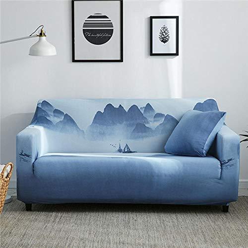 KOLIU Funda de sofá de Estilo navideño, Funda de sofá elástica de algodón para Sala de Estar, Fundas de sofá Toalla Individual/Dos/Tres/Cuatro plazas-Color 12_1 Asiento 90-140cm