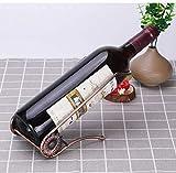 Fantes - Soporte para botella de vino de mesa de acero inoxidable para decoración del hogar (estilo L, bronce)