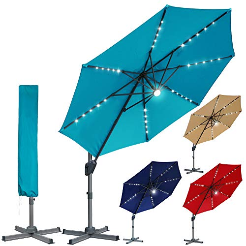 Blissun 10ft Offset Umbrella with 36 Solar LED Lights, Hanging Lighted Patio Umbrella with 360° Rotation, Outdoor Cantilever Umbrella, Solar Umbrella for Garden, Backyard, Patio, Pool, Cerulean