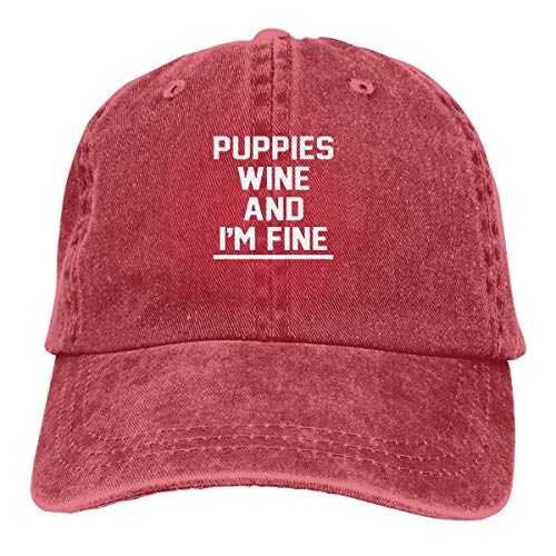 Fhcbfgd Puppies Wine and I'm Fine Gorra de béisbol ajustable para adulto