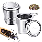 Teesieb für Losen Tee, 304 Edelstahl Teefilter, Ultra Fein Mesh Teeei Infuser mit Deckel und Faltbare Doppelgriffen, Tee Brauer für Tasse, Teekanne und...