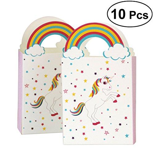 BESTOYARD 10pcs Einhorn Unicorn Partytüten mit Griff Papier Geschenktüten Süßigkeiten Taschen