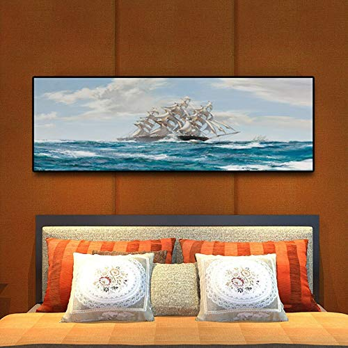Pintura sin Marco Pintura al óleo Abstracta Barco oceánico en escandinavo Cartel de Vela y Lienzo decoración Sala de estarZGQ6036 30X90cm