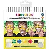 Snazaroo cara pinta caras conjunto, la paleta de maquillaje con pincel, esponja y 1 libro de maquillaje, 6 colores