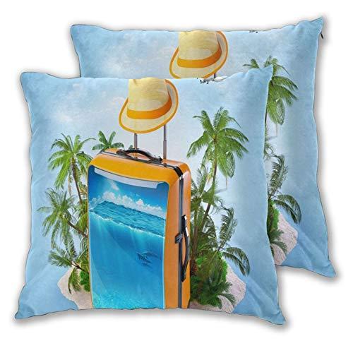 ALLMILL Juego de 2 Decorativo Funda de Cojín,Maleta mar Peces Palmeras Tropical Creativo Verano Viajes,Funda de Almohada Cuadrado para Sofá Cama