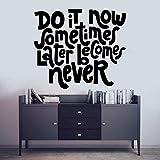 wZUN Do It Now Caligrafía Arte de la Pared Motivación Cita Vinilo Pegatina Decoración de la habitación Familiar 57X48cm