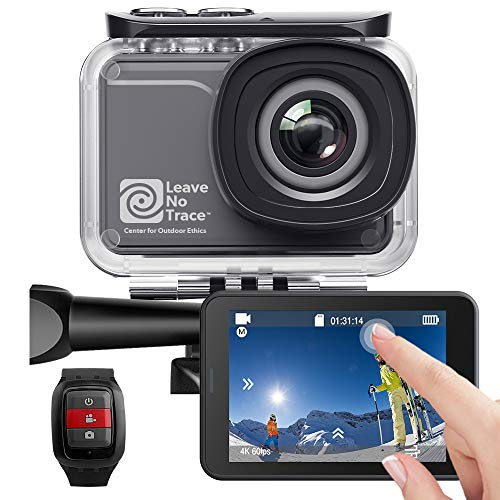 AKASO Action Cam 4K/60fps WiFi Sport Kamera 20MP, 39m Unterwasserkamera Touchscreen EIS einstellbar Blickwinkel Fernbedienung, Helmkamera mit 3 Batterien und Zubehör-Kits (V50 Pro SE)
