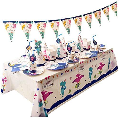 Fsskgxx Set de Suministros para Fiestas de Dinosaurios Juegos de vajilla Desechables para cumpleaños para niños Banner manteles Cuchillos cucharas Tenedores Platos de Papel - 16 Invitados