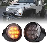 Xprite Amber Smoke Lens LED Turn Signal Lights Assembly with Parking Funtion Compatible with 2007-2018 Jeep Wrangler JK & Wrangler Unlimited